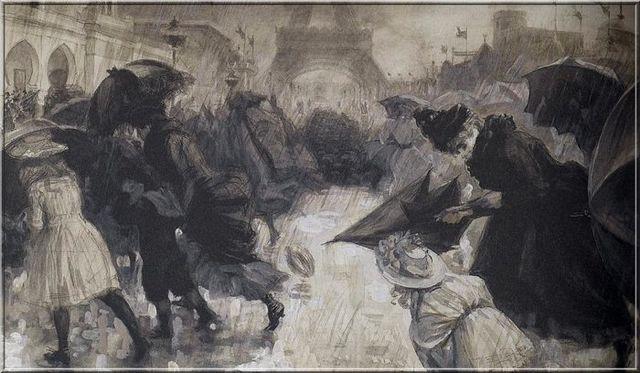 Visiteurs à l'exposition universelle de 1900 sous une pluie torrentielle