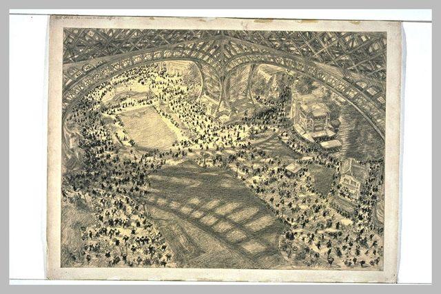 Vue du sol, sous la Tour Eiffel, prise du premier étage [exposition universelle de 1900]