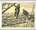 Deux ouvriers sur les fermes en fer de la Tour Eiffel [exposition universelle de 1900]
