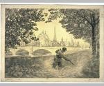 Jardinier fauchant une pelouse du Cours de la Reine mère [Exposition Universelle de 1900