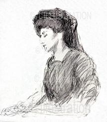 """""""La première attitude"""", Marguerite Steinheil pendant son procès, Paris, novembre 1909."""