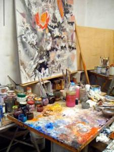 Palette de Baron-Renouard dans son atelier place Felix Lobligeois, Paris 17e