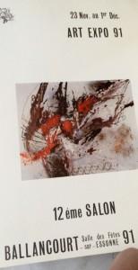 Affiche du 12e Salon d'art de Ballancourt avec l'oeuvre de Baron-Renouard, 1991