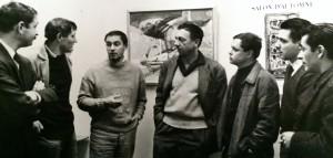 Baron-Renouard entouré de ses confrères, devant une de ses toiles, au Salon d'automne, Paris