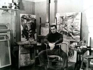 Baron-Renouard dans son premier atelier Quai de l'Horloge, Paris, 1960