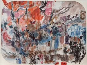 Les Grands Gestes du vent, 19917 toiles assemblées dont 4 de 150 × 150 cm et 3 de 100 × 100 cm4m × 3m